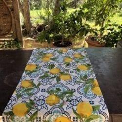 Runner cotone – Blu con limoni