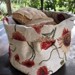 Porta pane in gobelin – Girasoli e papaveri