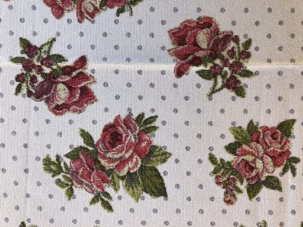Runner cotone – Bianco con rose