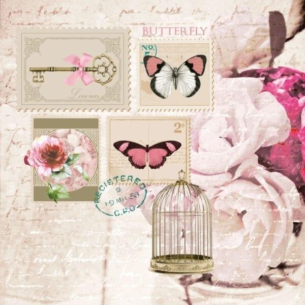 Tovaglioli di carta 3 veli – Butterfly Stamp