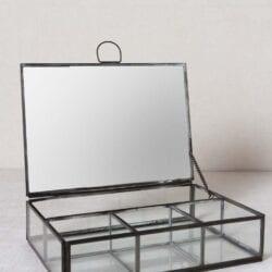 Porta gioie trasparente con bordo Nero