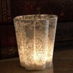 Porta candele grande craquele – Bianca