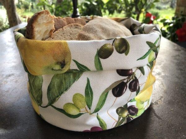 Porta pane in cotone – Oliva e limone