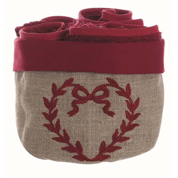 Cestino con 3 lavette in cotone con fiocco ricamato