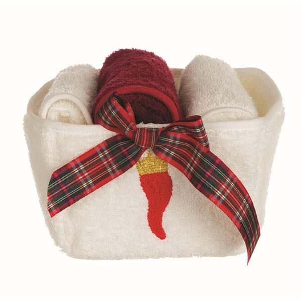 Cestino con 3 lavette in cotone con fiocco tartan
