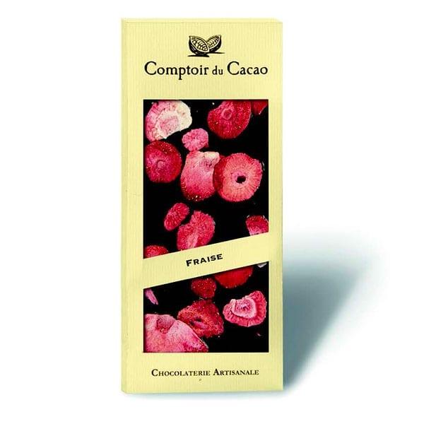 Tavoletta cioccolato con fragole essiccate
