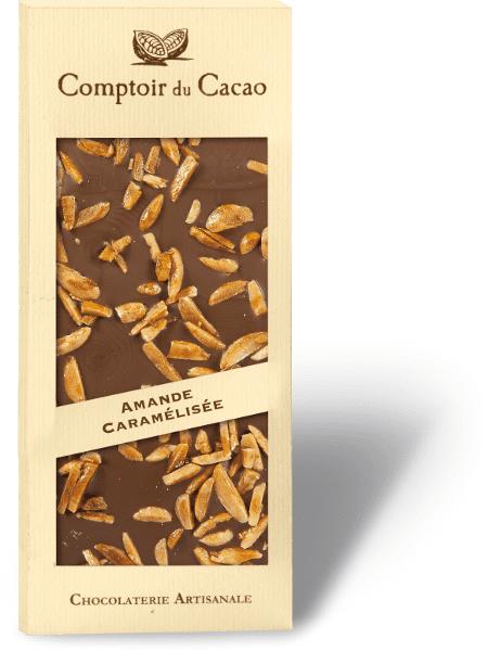 Tavoletta cioccolato con mandorle caramellate