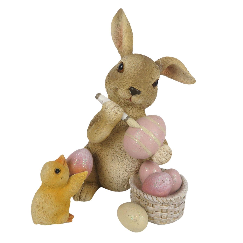 Decorazione a forma di coniglio con uova e pulcino