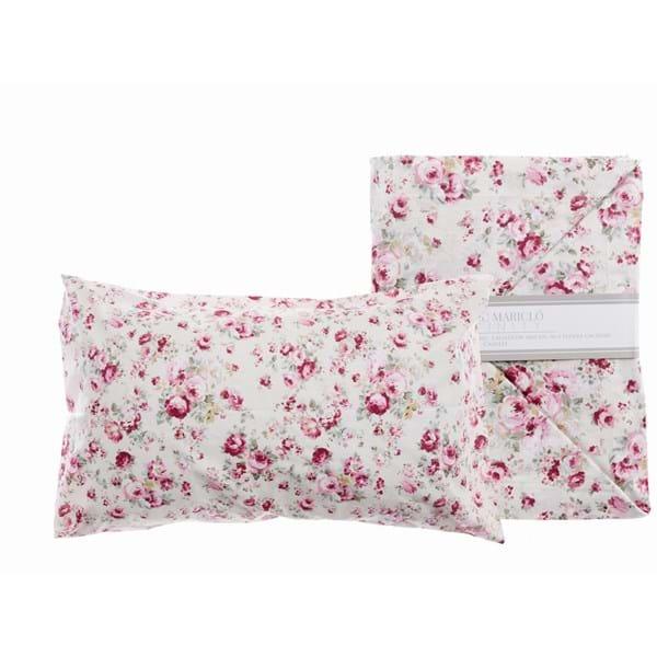 Completo letto 2 piazze – Bianco con roselline