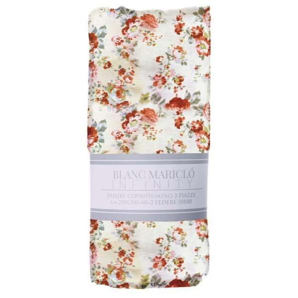 Parure copripiumino – Bianco con roselline rosse