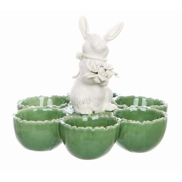 Porta uova in porcellana con coniglio