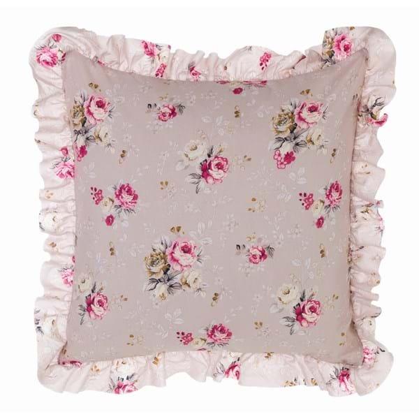 Cuscino quadrato in cotone con gala – Beige e fiori