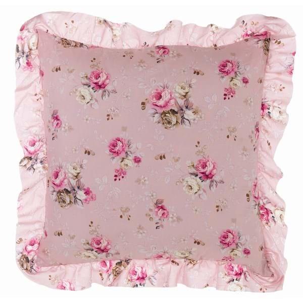Cuscino quadrato in cotone con gala – Rosa e fiori