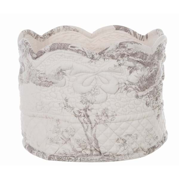Porta pane boutis in cotone – Bianco con decori