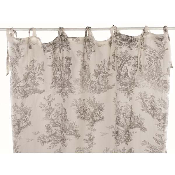 Tenda 150×300 misto lino – Bianca con decori