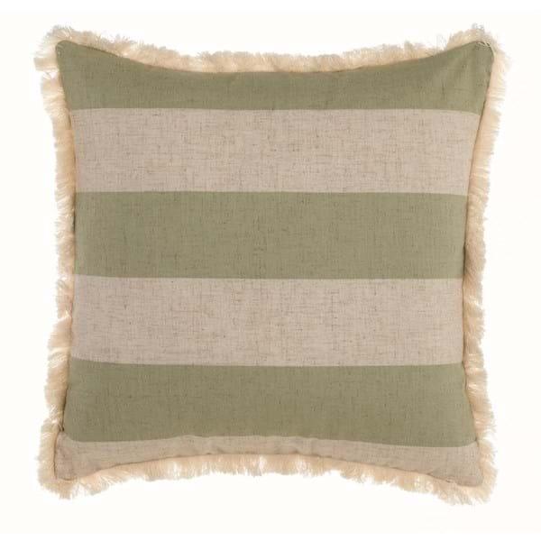 Cuscino con frange e righe – Bianco e verde
