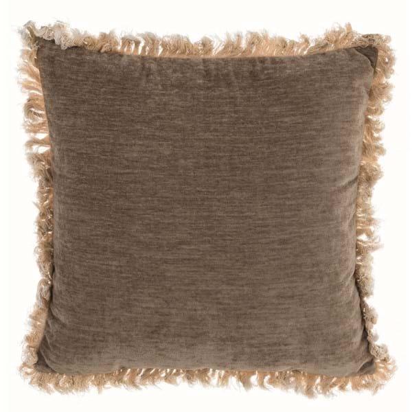 Cuscino con frangia delave – Beige