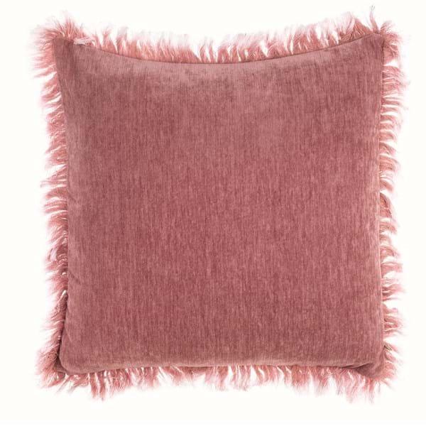 Cuscino con frangia delave – Rosa