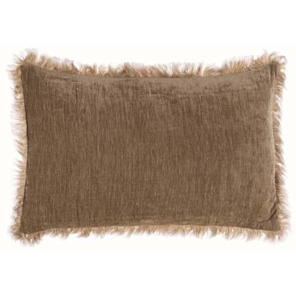 Cuscino rettangolare con frangia delave – Beige