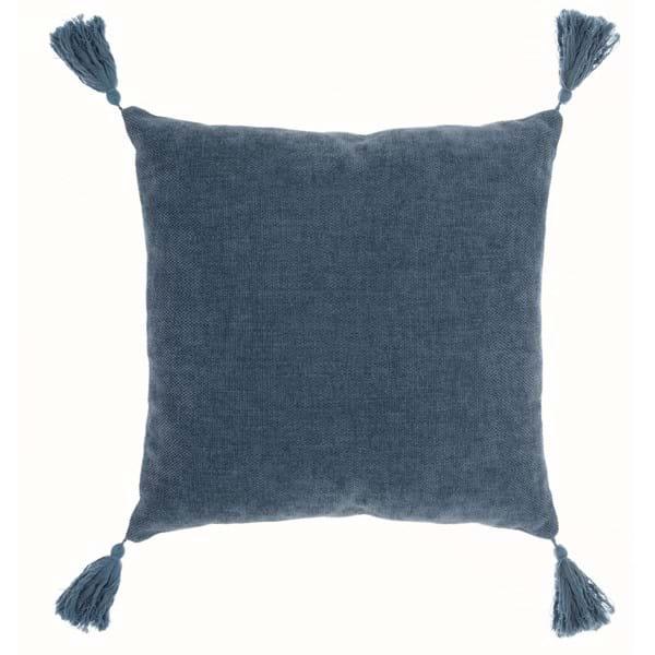 Cuscino quadrato con nappe – Blu