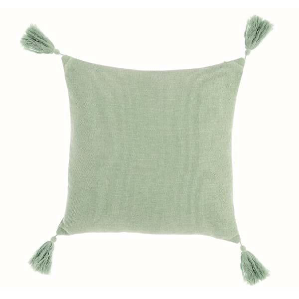 Cuscino quadrato con nappe – Verde