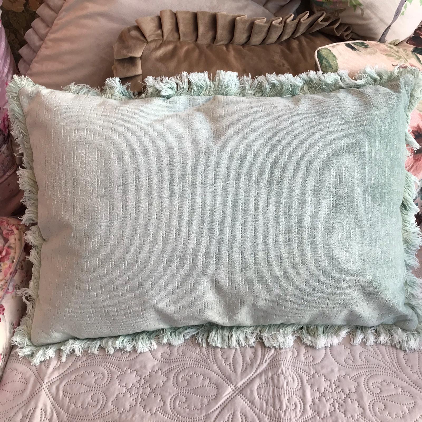 Cuscino rett. con frangia delave – Verde chiaro