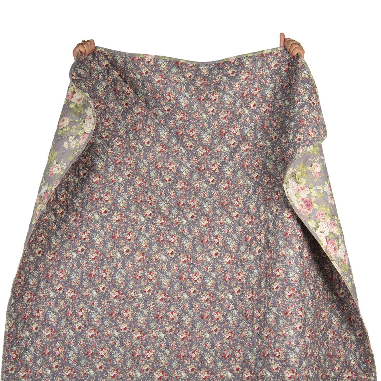Copriletto con rose grigio – 1 piazza e mezzo