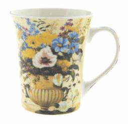 Tazza con fiori in porcellana- Gialla