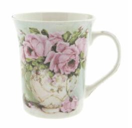 Tazza con fiori in porcellana- Bianca