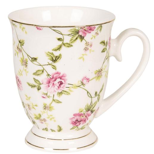 Tazza media con rose in porcellana – Bianca