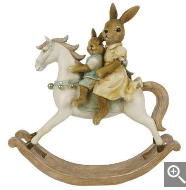 Decorazione a forma di cavallino con coniglietti