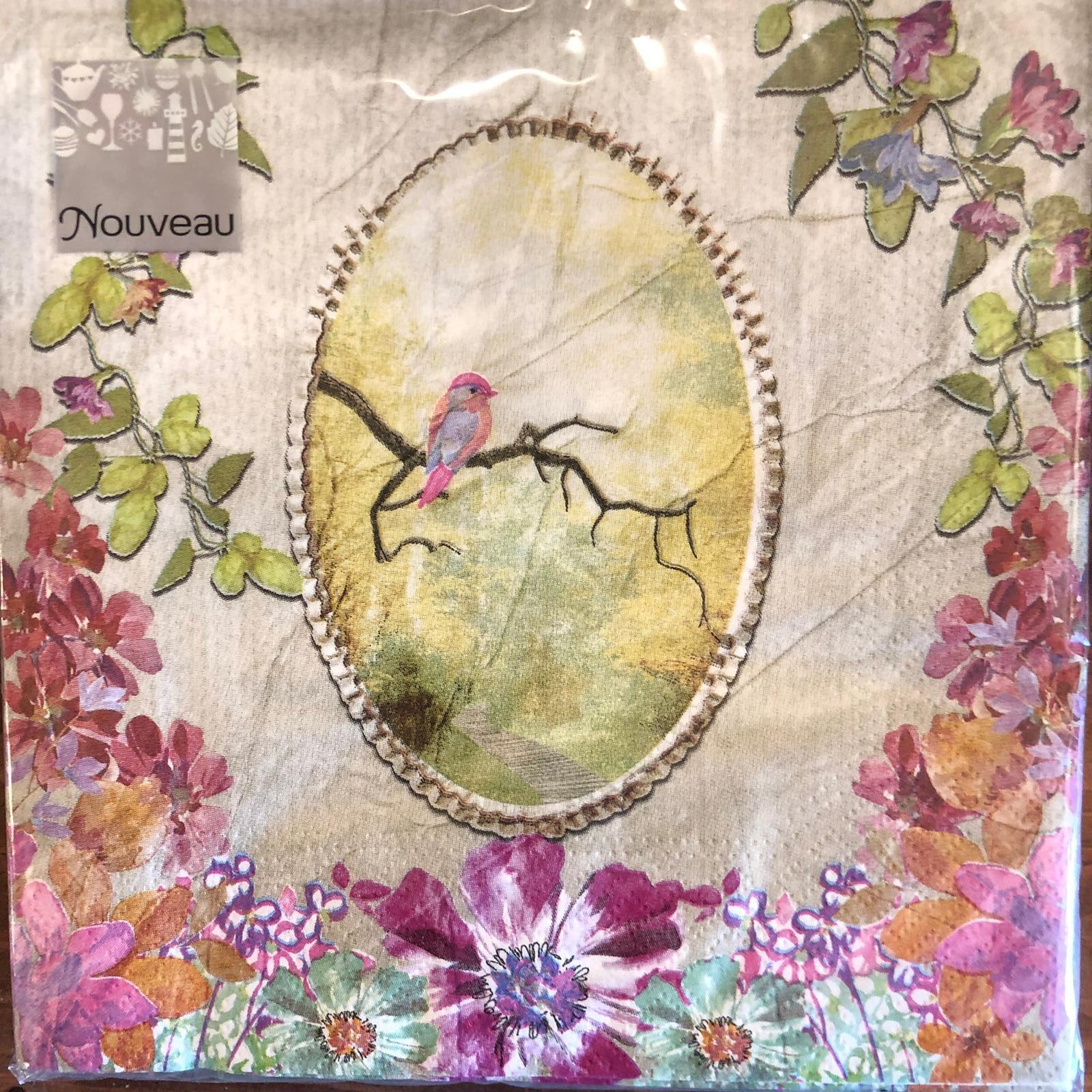 Tovaglioli di carta 3 veli – Uccellini e fiori