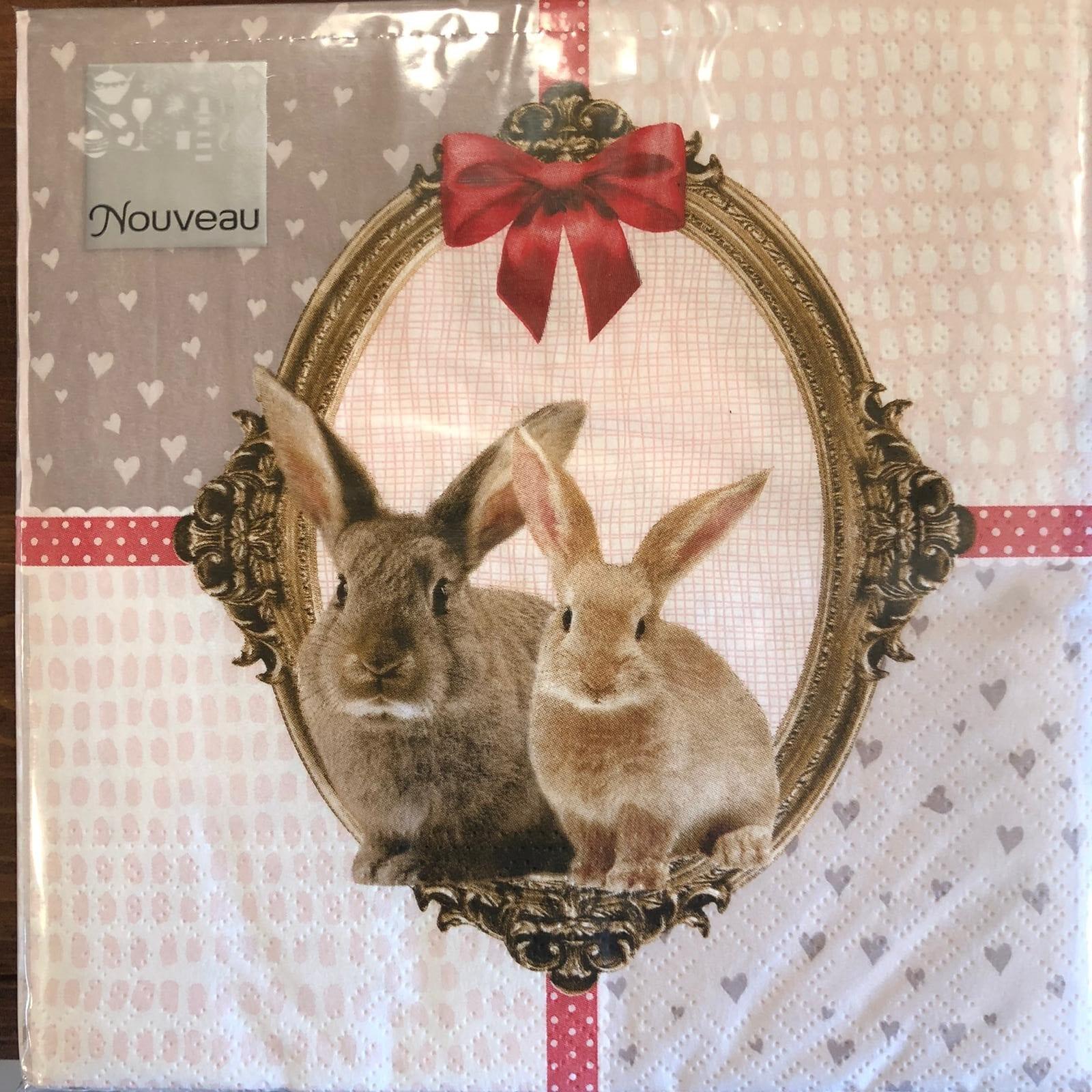 Tovaglioli di carta 3 veli – Conigli e fiocchi rossi