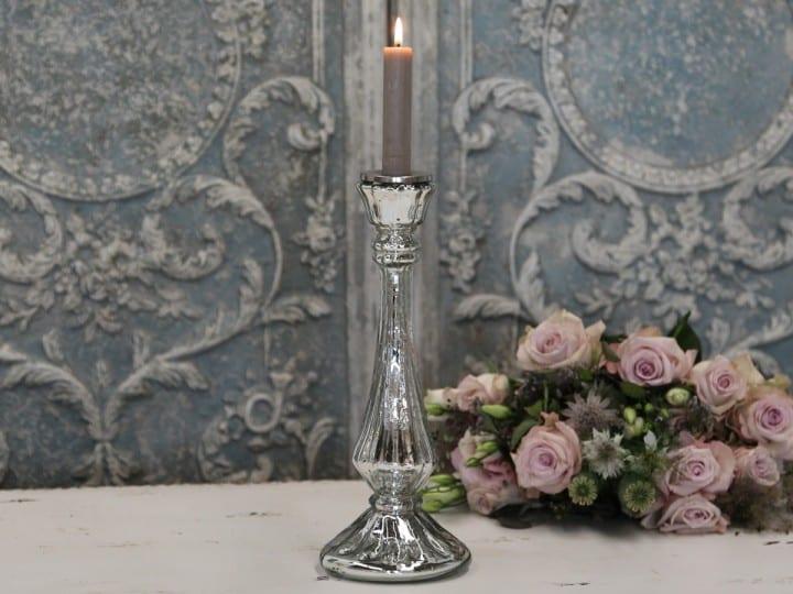 Porta candele a specchio in vetro – Argentato