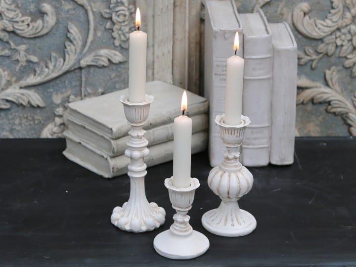 Porta candele in resina ondulato – Avorio