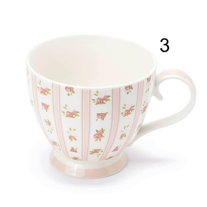 Tazza in porcellana – Bianca con rose e strisce