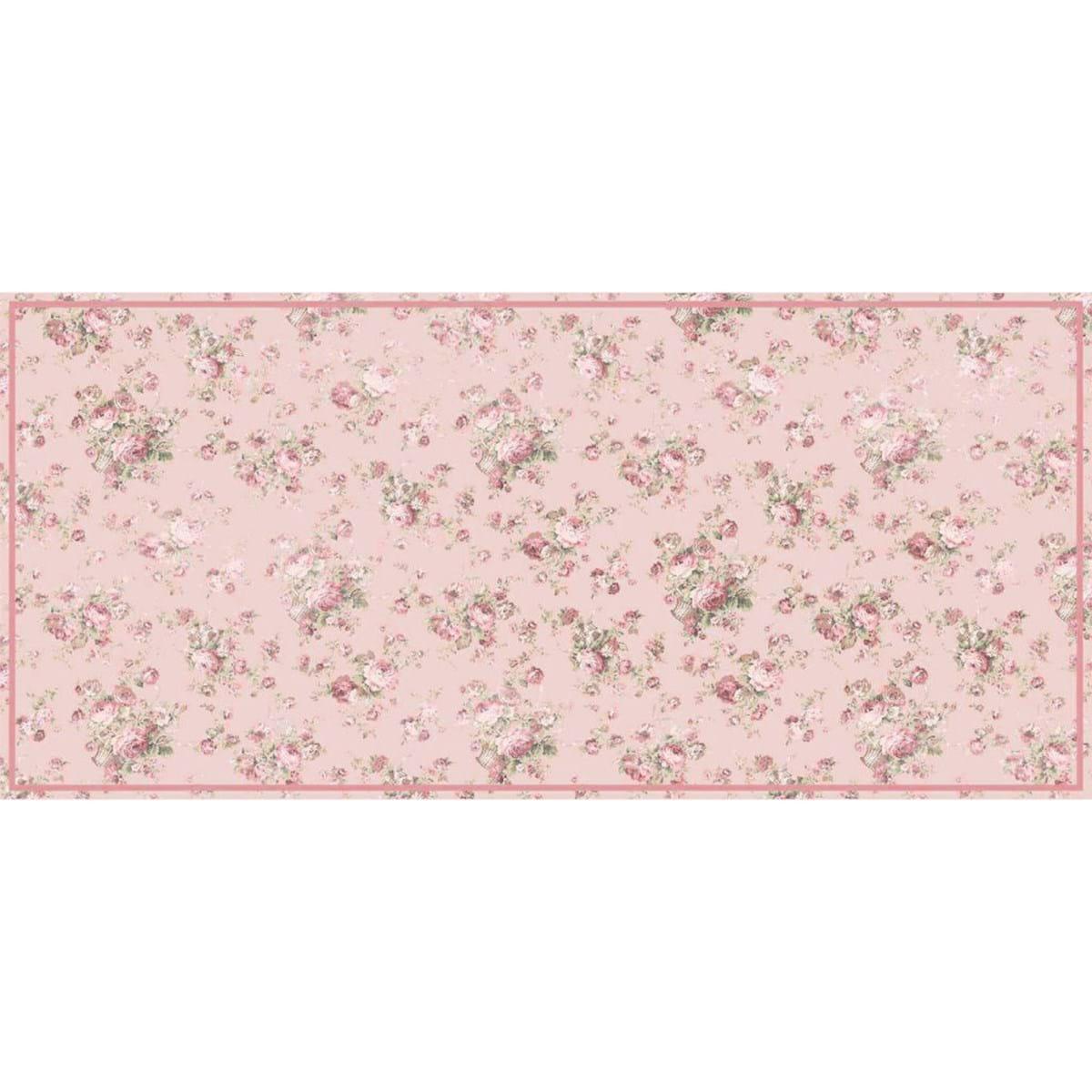 Tappetto rosa antico con roselline