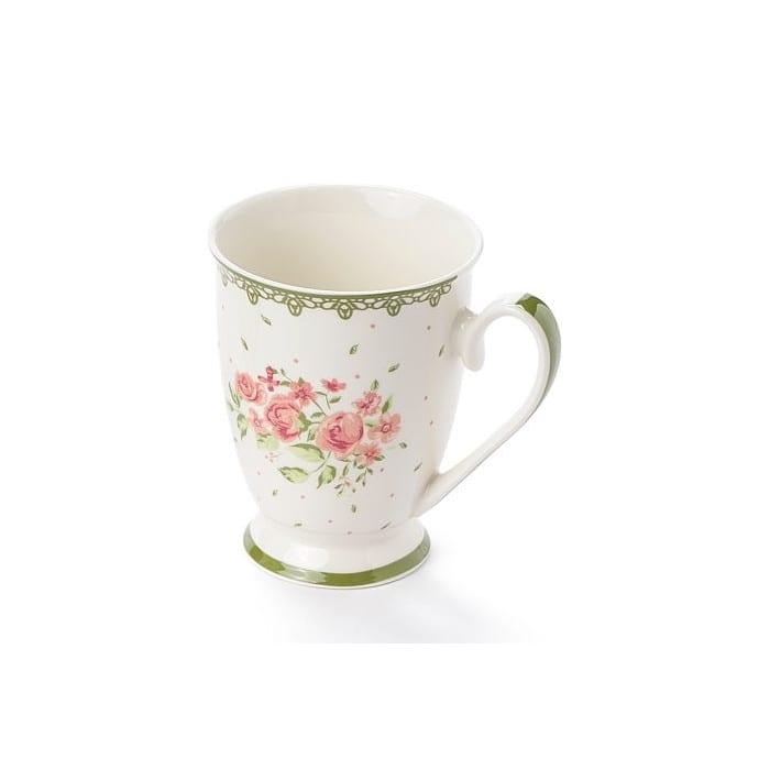 Tazza in porcellana 310ml – Bianca con fiori