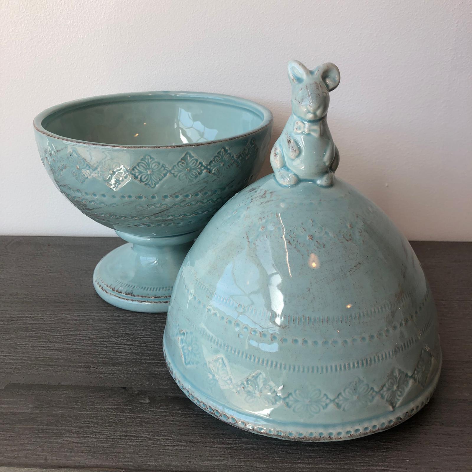 Scatola uovo in ceramica con coniglio – Turchese