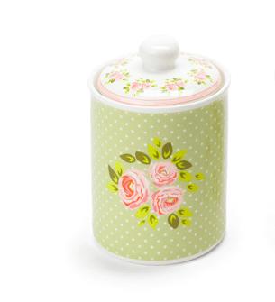 Barattolo e coperchio in ceramica – Verde con rose