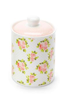 Barattolo e coperchio in ceramica -Bianco con rose