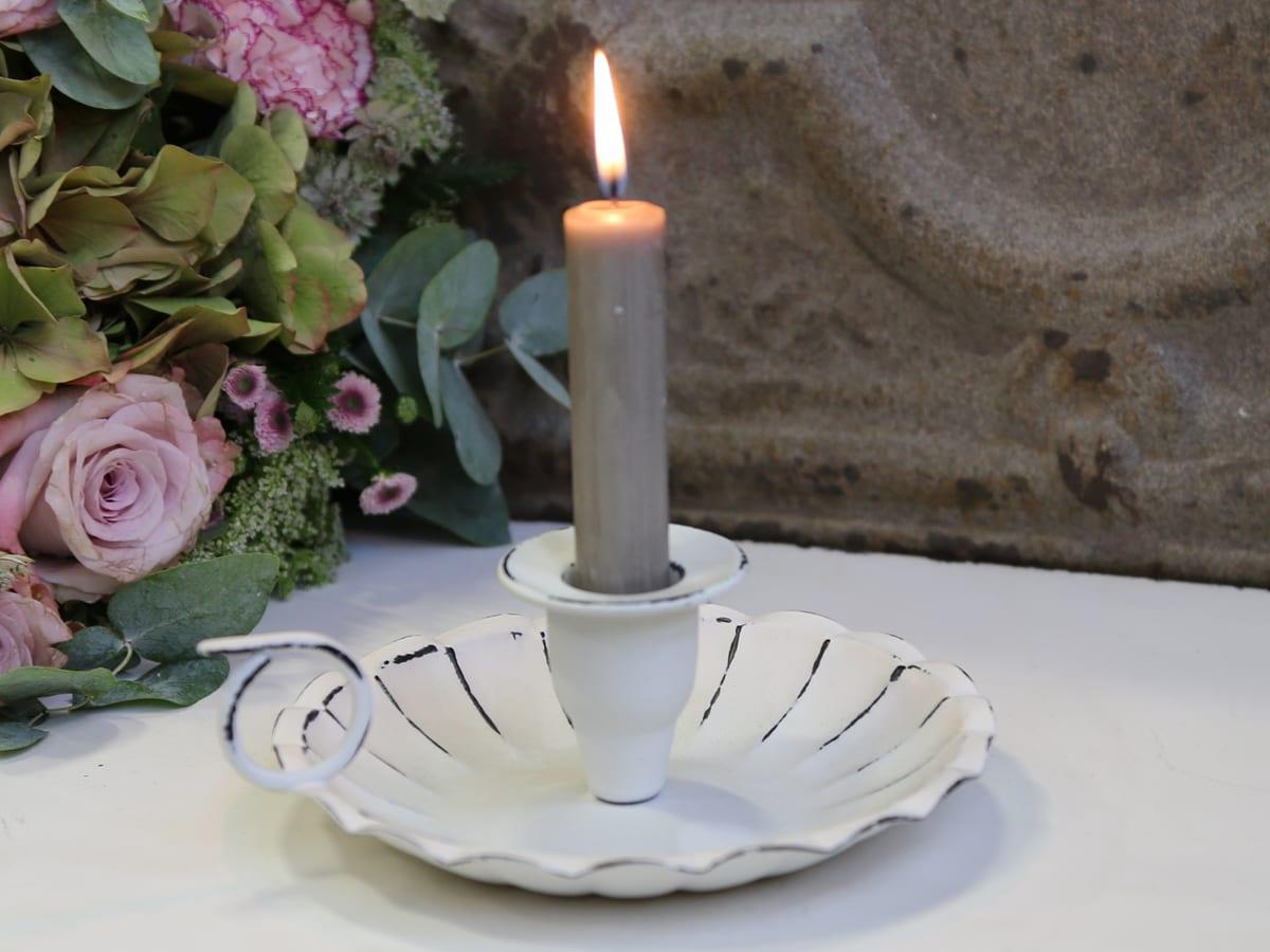 Porta candela bianca con maniglia