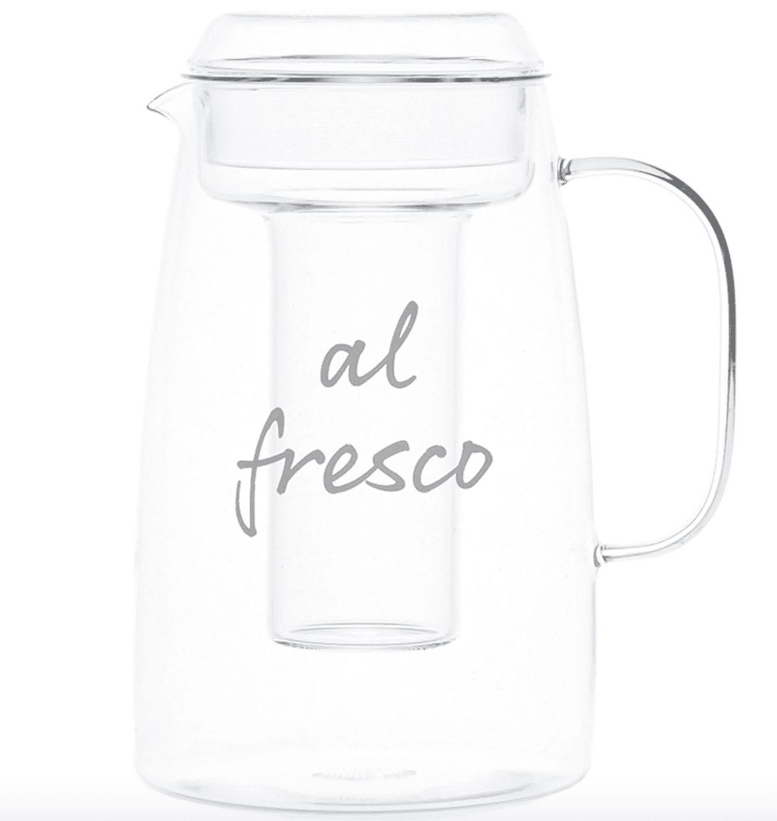 """Caraffa in vetro portaghiaccio decoro  """" al fresco"""""""