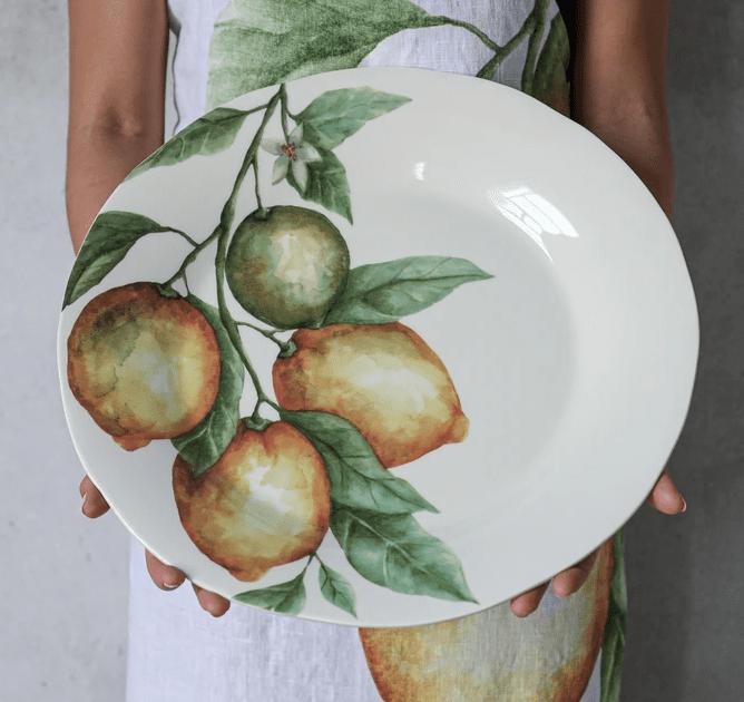 Piatto tondo in ceramica decoro Limoni