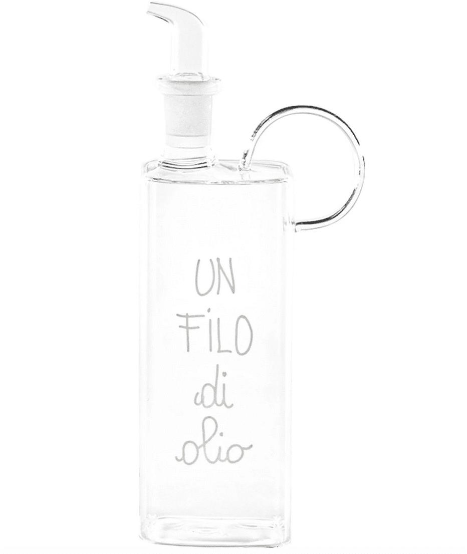 Oliera in vetro con decoro Un filo di Olio