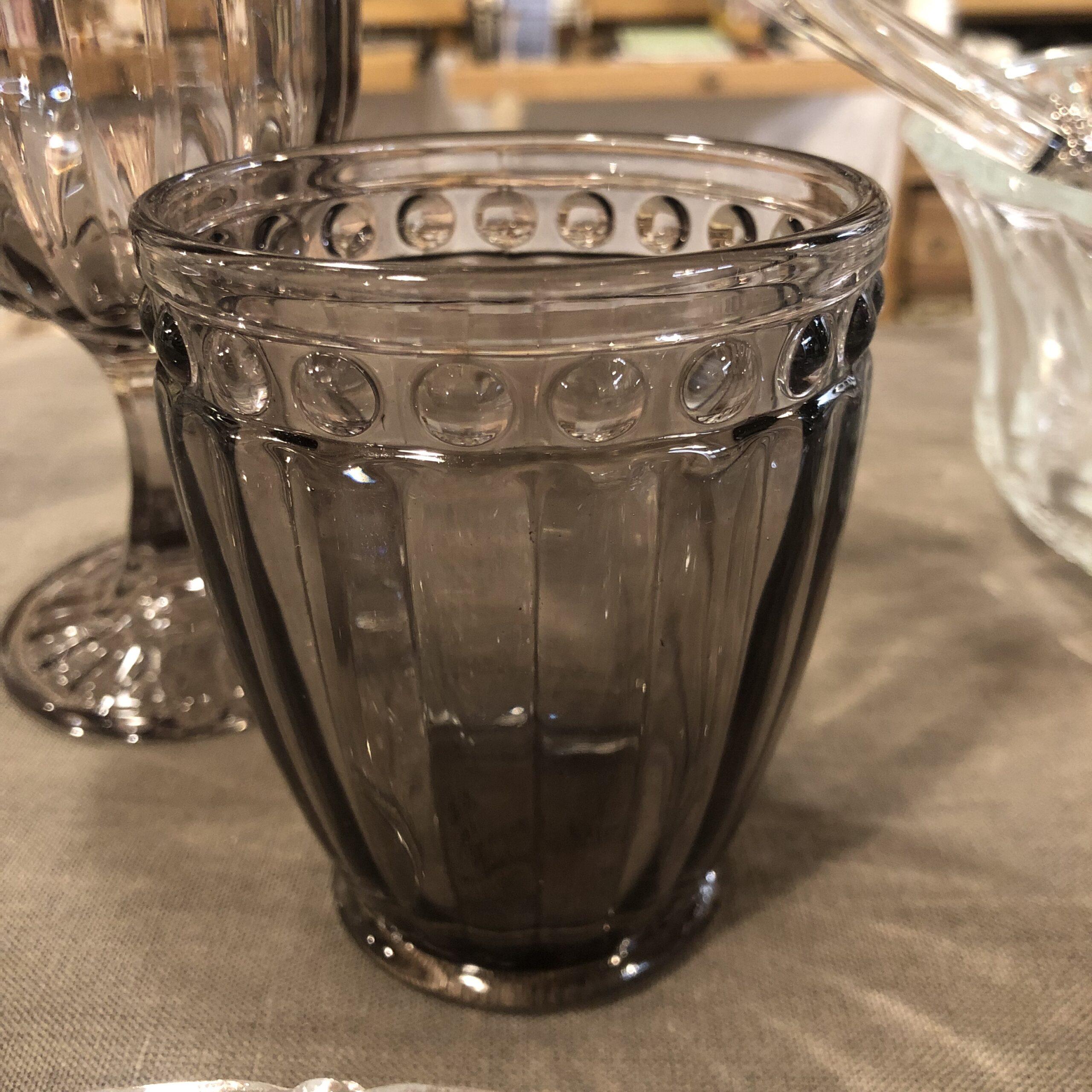 Set 2 Bicchieri rilievo ,colore fumoso